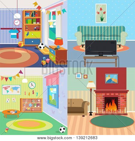 Home Interiors Set. Children Bedroom Interior. Living Room with Fireplace. Vector illustration