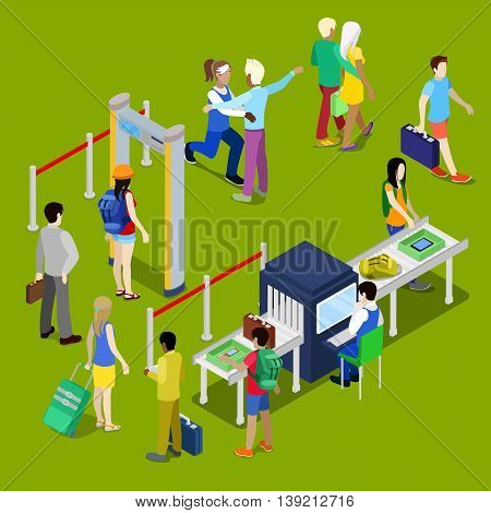 Airport Security Checkpoint with a Queue of Isometric People with Baggage. Vector illustration