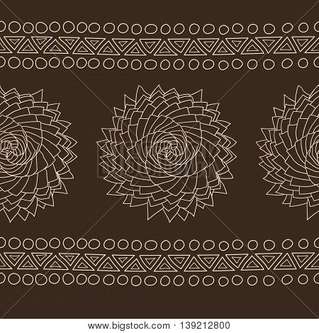 Organic spiral rose pattern or border, ethnic tribal style, chocolate and cream colors