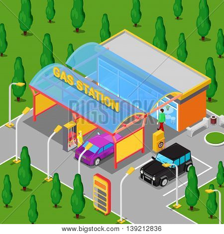 Isometric Gas Station with Cars, Serviceman and Driver. Vector illustration