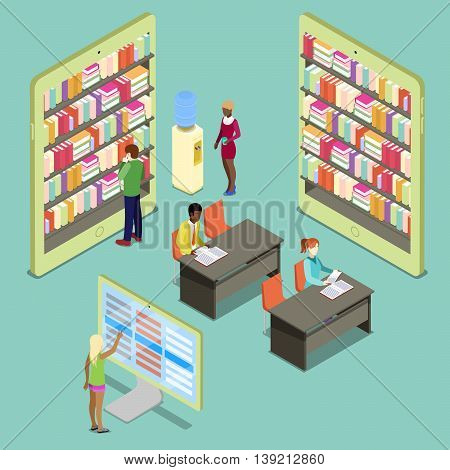 Isometric Digital Library with Bookshelves and Reading People. Vector illustration