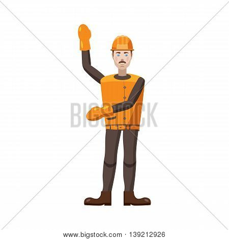 Builder icon in cartoon style on a white background