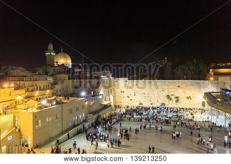 Jerusalem, Israel - July 01, 2016: Western Wall Time After Sabbath Prayers