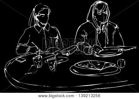 Man And Woman Eating Pizza At A Cafe