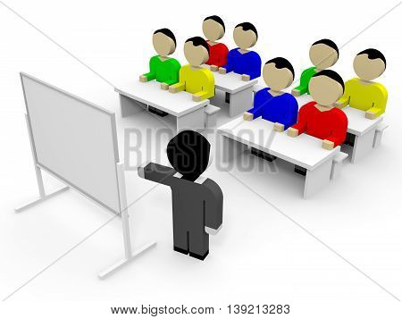 3D business people on white background. Training. 3D illustration.