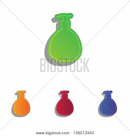 Gel, Foam Or Liquid Soap. Dispenser Pump Plastic Bottle silhouette. Colorfull applique icons set.