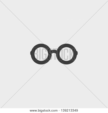 Round glasses icon in a flat design in black color. Vector illustration eps10