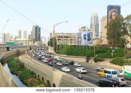 Tel-aviv, Israel - March 24, 2016: Traffic On Ayalon Highway