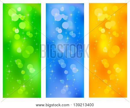 Set Coloured bright diffuse background. Vector illustration