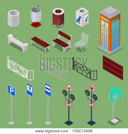 Isometric City Urban Elements with Benches, Fences, Road Signs, Telephone Box and Trashcans. Vector illustration