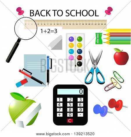 School subjects, calculator, notebook, chalk, ruler, magnifier, button, eraser, pencil, vector
