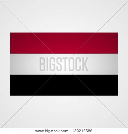 Yemen flag on a gray background. Vector illustration
