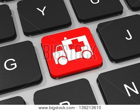 First Aid Key On Keyboard Of Laptop Computer.