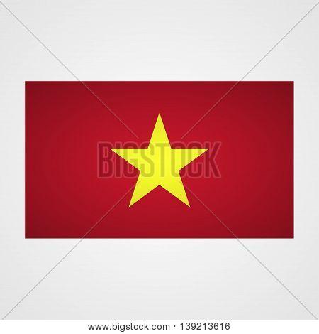 Vietnam flag on a gray background. Vector illustration