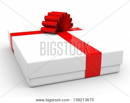 Christmas Gift Box With Bow.