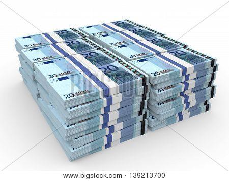 Stacks Of Money. Twenty Euros.