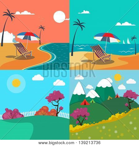 Summer Landscapes Set. Seascape with Palm Trees. Mountain Landscape. Vector Background
