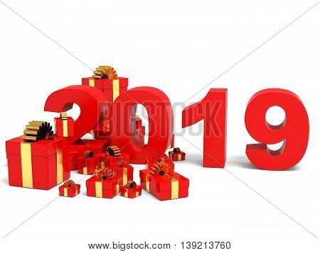 Happy new year 2019 with gifts on white backgriund. 3D illustration.
