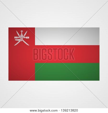 Oman flag on a gray background. Vector illustration