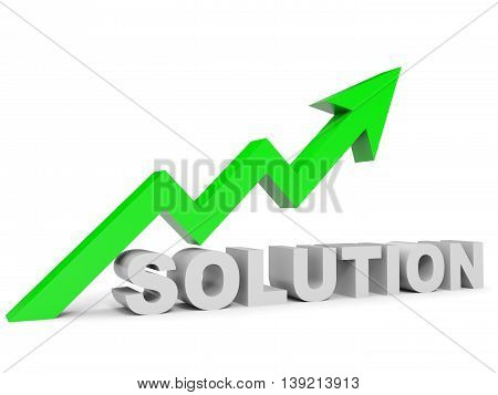 Graph up solution arrow on white background. 3D illustration.