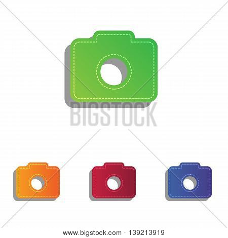 Digital camera sign. Colorfull applique icons set.