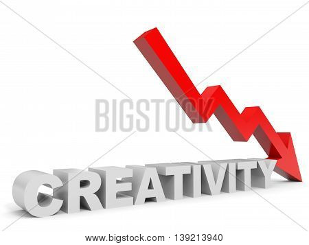 Graph down creativity arrow on white background. 3D illustration.