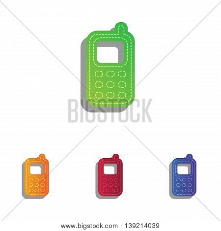 Cell Phone sign. Colorfull applique icons set.