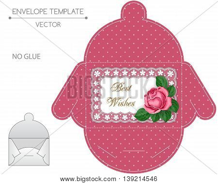 Envelope template with die cut. No glue. Retro style design wiht lace border and hand drawn rose.