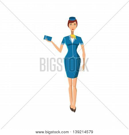 Stewardess icon in cartoon style on a white background