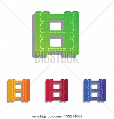 Reel of film sign. Colorfull applique icons set.