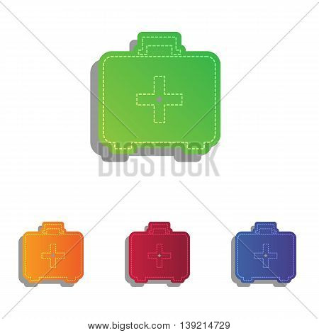 Medical First aid box sign. Colorfull applique icons set.