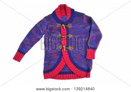 colorful knitted cardigan for girls isolated on white background
