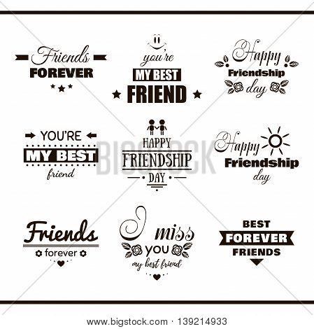 Collection of monochrome labels with congratulation on white background. Happy Friendship Day. Vector illustration.