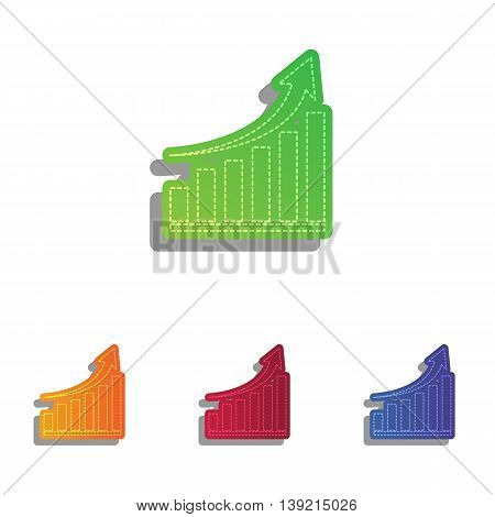 Growing graph sign. Colorfull applique icons set.