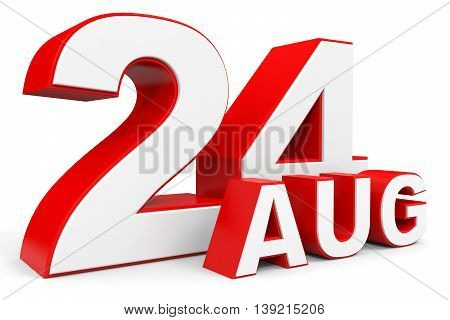 August 24. 3D Text On White Background.