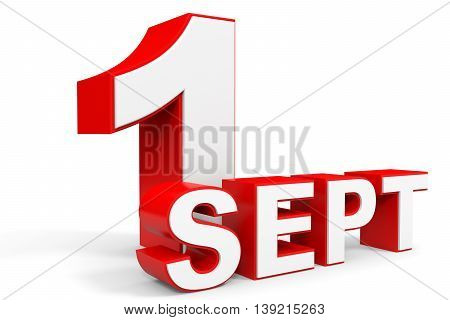 September 1. 3D Text On White Background.