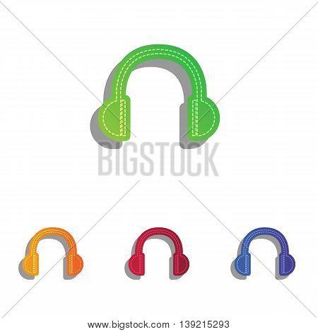 Headphones sign illustration. Colorfull applique icons set.