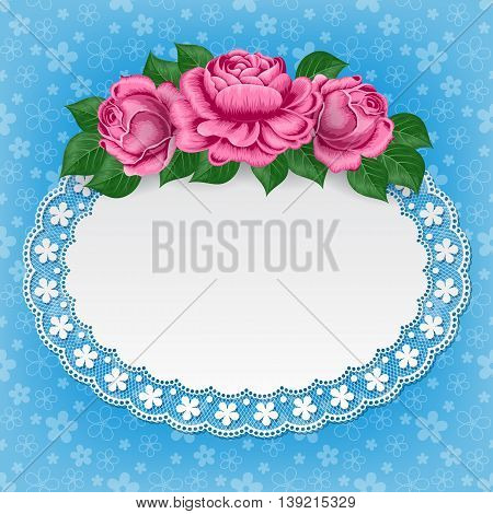 Vintage background with hand drawn roses and lace doily on floral background. Greeting card invitation template. Illustration in retro style. Vector