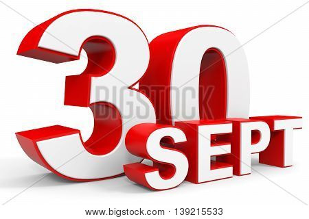 September 30. 3D Text On White Background.