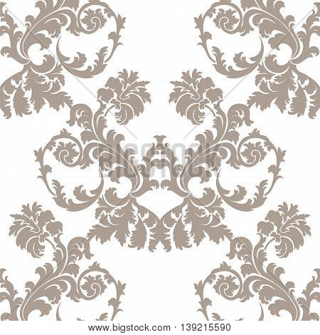 Vector Baroque Floral Damask ornament pattern. Taupe colorornament
