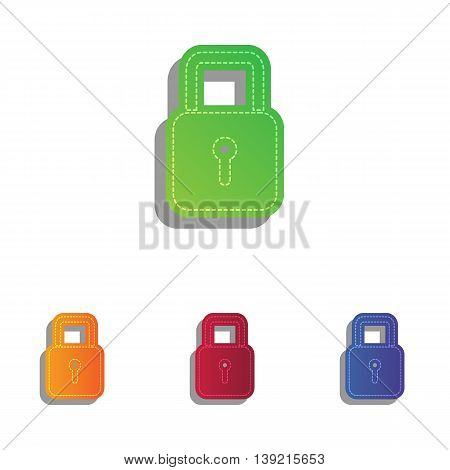 Lock sign illustration. Colorfull applique icons set.