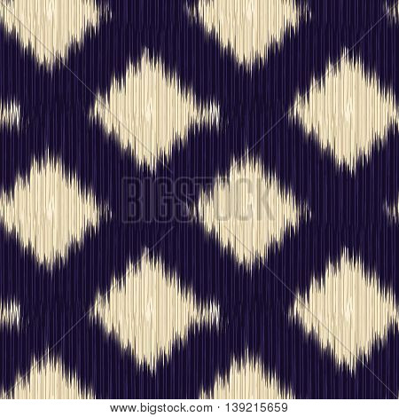 Black and beige seamless Ikat Pattern. Abstract background for textile design wallpaper surface textures wrapping paper.