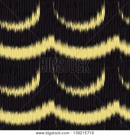 Black and yellow seamless Ikat Pattern. Abstract background for textile design wallpaper surface textures wrapping paper.