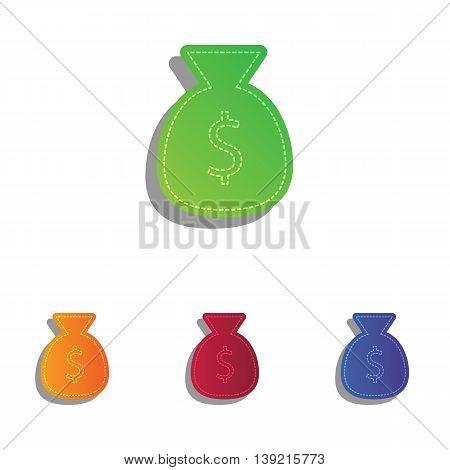 Money bag sign illustration. Colorfull applique icons set.
