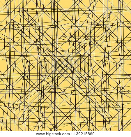 Mix lines on yellow background. Seamless pattern, vector eps 10. For designs, prints, textile.