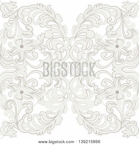 Vector Lace Card with crochet floral ornament. Delicate lace design card for wedding ceremonies anniversary party events. Cream color