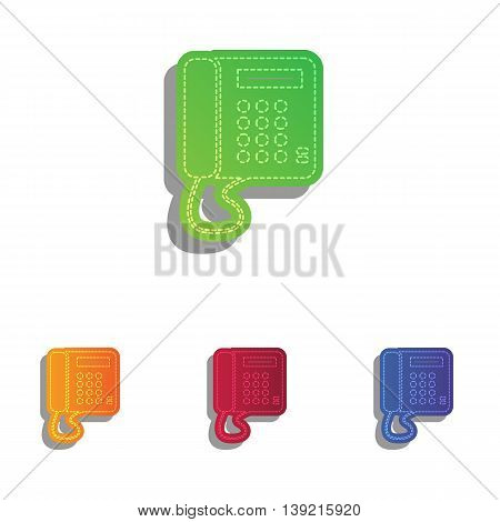 Communication or phone sign. Colorfull applique icons set.