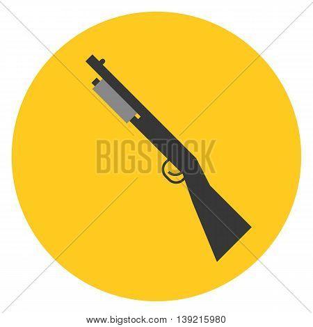 Vector shot gun on yellow circle, flat design