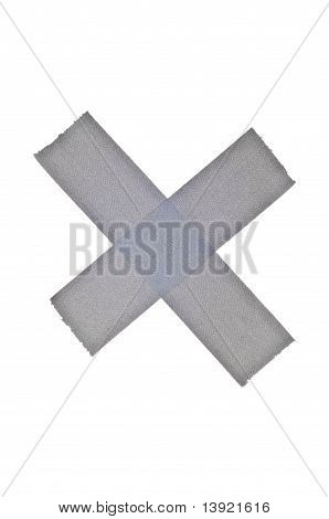 X Symbol In Duct Or Gaffers Tape