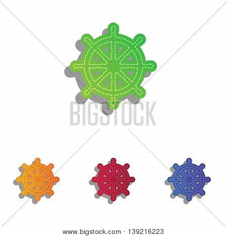 Ship wheel sign. Colorfull applique icons set.